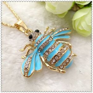 Crystal Blue bee Pendant Necklace